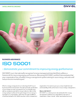 ISO 50001 certification by DNV GL
