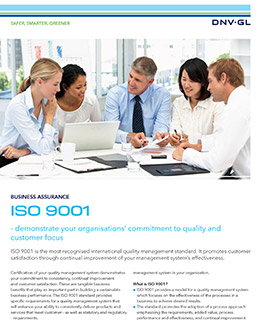 ISO 9001 certification by DNV GL